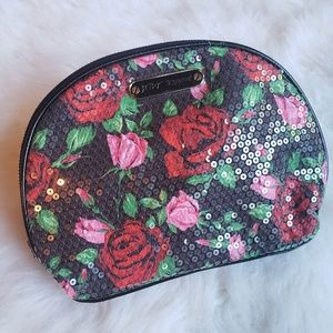 🌿Betsey Johnson Sequence Rose Cosmetic Bag🌿